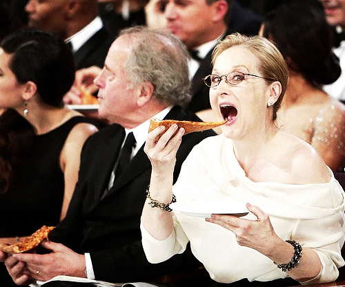 Meryl Streep äter pizza